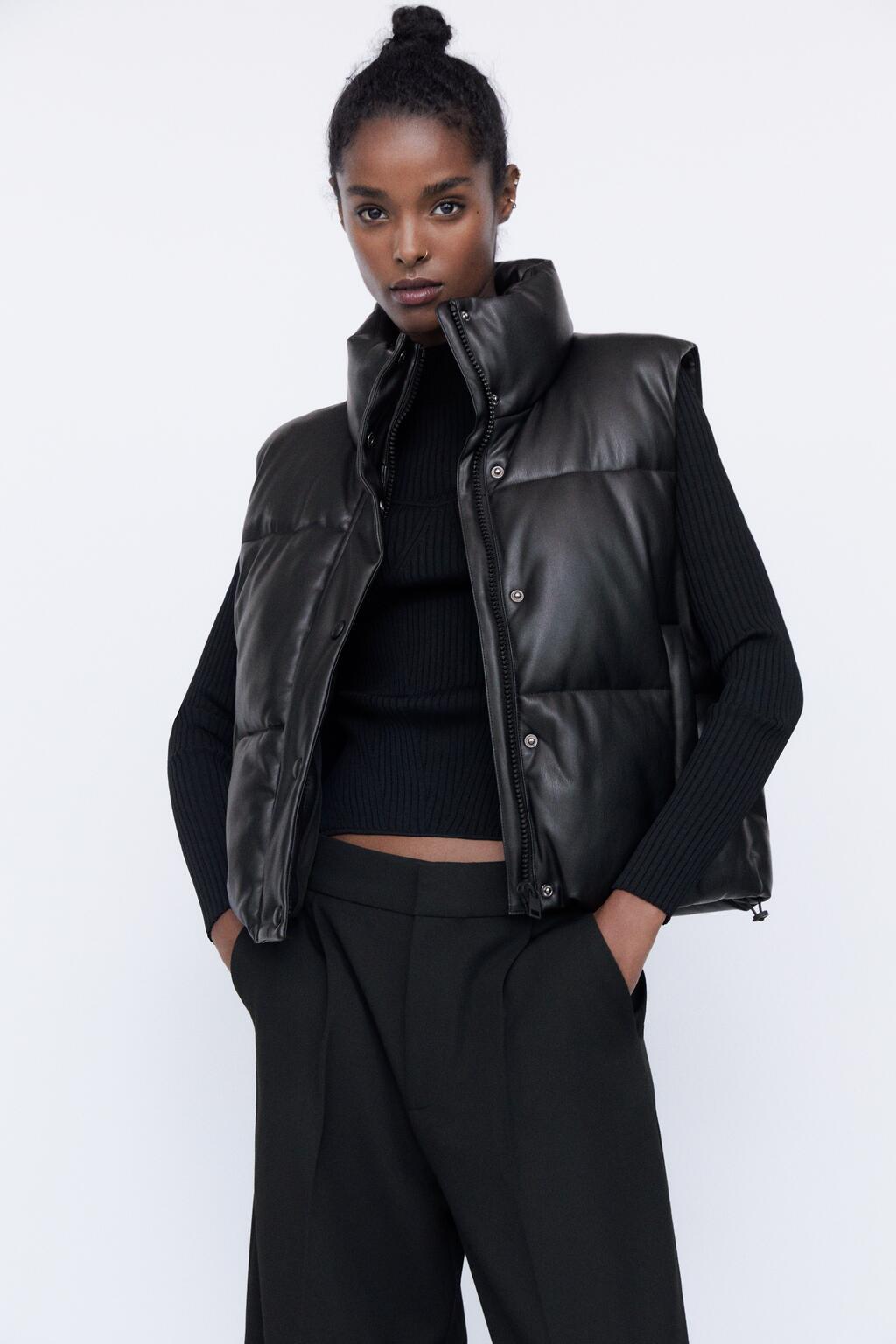 欧美风2021款秋冬季新款女式皮革棉服马甲上衣女装Y12-2599