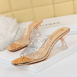 199-1 han edition fashion outside wear summer cool slippers with hollow out peep-toe transparent diamond crystal with hi