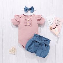 跨境夏季新生儿纯棉哈衣爬服粉色上衣牛仔小短裤头饰儿童短袖套装