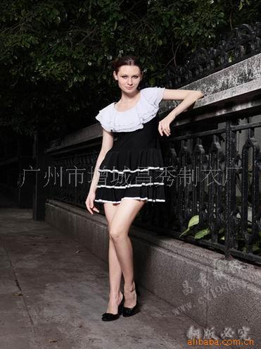 實體店+網店免費代理加盟昌秀服飾白色包邊多層連衣裙5#工廠直銷